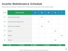 Solar System Implementation And Support Service Inverter Maintenance Schedule Ppt Outline Backgrounds PDF