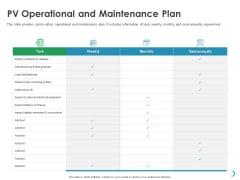 Solar System Implementation And Support Service PV Operational And Maintenance Plan Template PDF