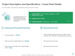 Solar System Implementation And Support Service Project Description And Specifications Power Plant Details Sample PDF