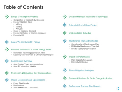 Solar System Implementation And Support Service Table Of Contents Ppt Model Files PDF