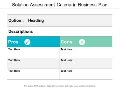 Solution Assessment Criteria In Business Plan Ppt PowerPoint Presentation Infographics Introduction