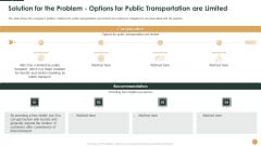 Solution For The Problem Options For Public Transportation Are Limited Complication Ppt Pictures Diagrams PDF