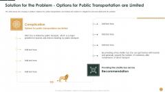 Solution For The Problem Options For Public Transportation Are Limited Ppt Model Slide Download PDF