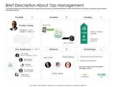 Solvency Action Plan For Private Organization Brief Description About Top Management Infographics PDF