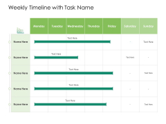 Solvency Action Plan For Private Organization Weekly Timeline With Task Name Mockup PDF