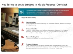 Sound Production Firm Agreement Key Terms To Be Addressed In Music Proposal Contract Ppt Slides Portrait PDF