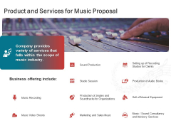 Sound Production Firm Agreement Product And Services For Music Proposal Ppt File Deck PDF
