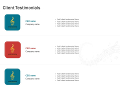 Sound Production Firm Agreement Proposal Client Testimonials Ppt Layouts Show PDF