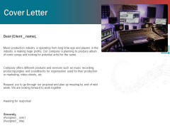 Sound Production Firm Agreement Proposal Cover Letter Ppt Styles Picture PDF