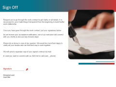 Sound Production Firm Agreement Proposal Sign Off Ppt Outline Deck PDF