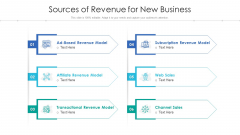 Sources Of Revenue For New Business Ppt Infographics Samples PDF