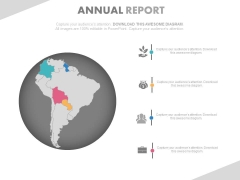 South America Map On Globe For Annual Growth Report Powerpoint Slides
