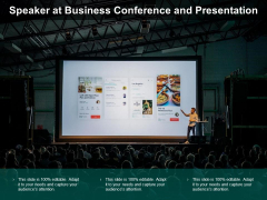 Speaker At Business Conference And Presentation Ppt PowerPoint Presentation Icon Infographics
