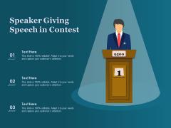 Speaker Giving Speech In Contest Ppt PowerPoint Presentation Pictures Design Ideas PDF