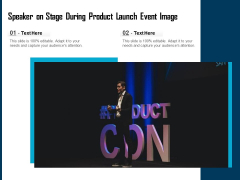Speaker On Stage During Product Launch Event Image Ppt PowerPoint Presentation Infographics Clipart PDF