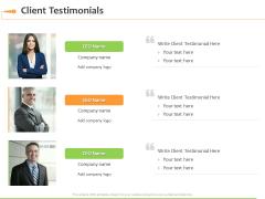Speaking Engagement Client Testimonials Ppt Model Templates PDF