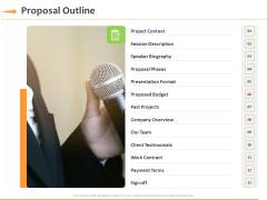 Speaking Engagement Proposal Outline Ppt Model Graphics PDF