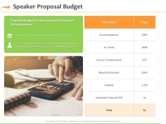 Speaking Engagement Speaker Proposal Budget Ppt Professional Infographic Template PDF