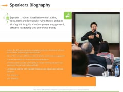 Speaking Engagement Speakers Biography Ppt Pictures Tips PDF