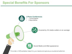 Special Benefits For Sponsors Ppt PowerPoint Presentation Model Templates