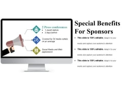 Special Benefits For Sponsors Ppt PowerPoint Presentation Pictures Background