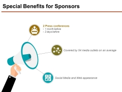 Special Benefits For Sponsors Ppt PowerPoint Presentation Show Graphics Design