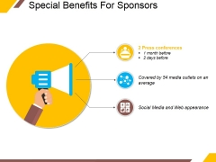 Special Benefits For Sponsors Ppt PowerPoint Presentation Summary Shapes
