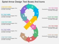 Spiral Arrow Design Text Boxes And Icons Powerpoint Template