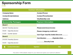 Sponsorship Form Ppt PowerPoint Presentation Pictures Show