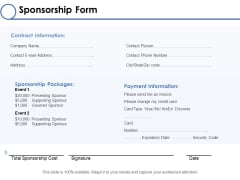 Sponsorship Form Ppt PowerPoint Presentation Professional Examples