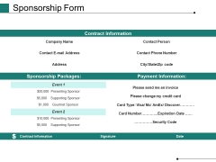 Sponsorship Form Ppt PowerPoint Presentation Summary Slides