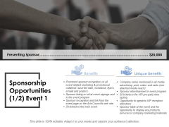Sponsorship Opportunities Template 1 Ppt PowerPoint Presentation Ideas Graphics Pictures