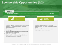 Sponsorship Opportunities Template 2 Ppt PowerPoint Presentation Ideas Example