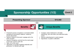 Sponsorship Opportunities Template 2 Ppt PowerPoint Presentation Show Graphics Example