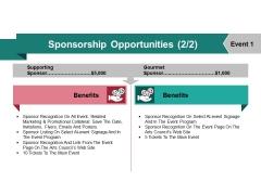 Sponsorship Opportunities Template 5 Ppt PowerPoint Presentation Inspiration