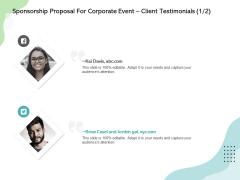 Sponsorship Proposal For Corporate Event Client Testimonials Communication Topics PDF