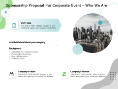 Sponsorship Proposal For Corporate Event Who We Are Ppt Ideas Maker PDF