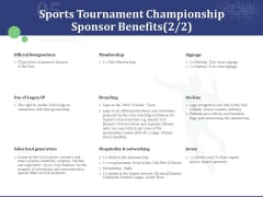 Sports Tournament Championship Sponsor Benefits Branding Ppt Infographics Images PDF