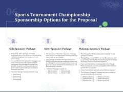 Sports Tournament Championship Sponsorship Options For The Proposal Ppt Summary Slideshow PDF