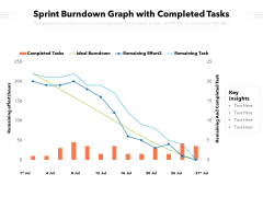 Sprint Burndown Graph With Completed Tasks Ppt PowerPoint Presentation Show Styles PDF