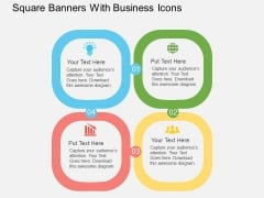 Square Banners With Business Icons Powerpoint Templates