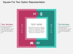 Square For Two Option Representation Powerpoint Templates