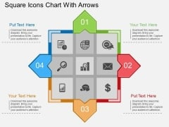 Square Icons Chart With Arrows Powerpoint Template