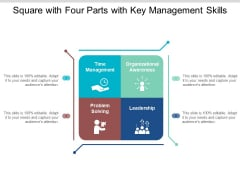 Square With Four Parts With Key Management Skills Ppt PowerPoint Presentation Outline Deck