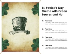 St Patricks Day Theme With Green Leaves And Hat Ppt Powerpoint Presentation Gallery Slides