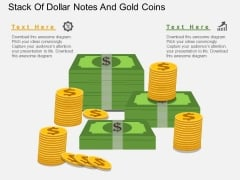 Stack Of Dollar Notes And Gold Coins PowerPoint Template
