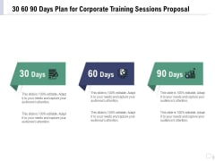 Staff Engagement Training And Development 30 60 90 Days Plan For Corporate Training Sessions Proposal Rules PDF