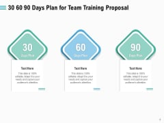 Staff Engagement Training And Development 30 60 90 Days Plan For Team Training Proposal Slides PDF