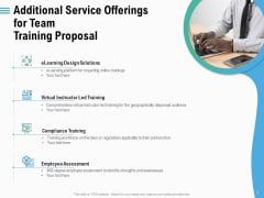 Staff Engagement Training And Development Additional Service Offerings For Team Training Proposal Elements PDF