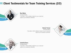 Staff Engagement Training And Development Client Testimonials For Team Training Services Planning Download PDF